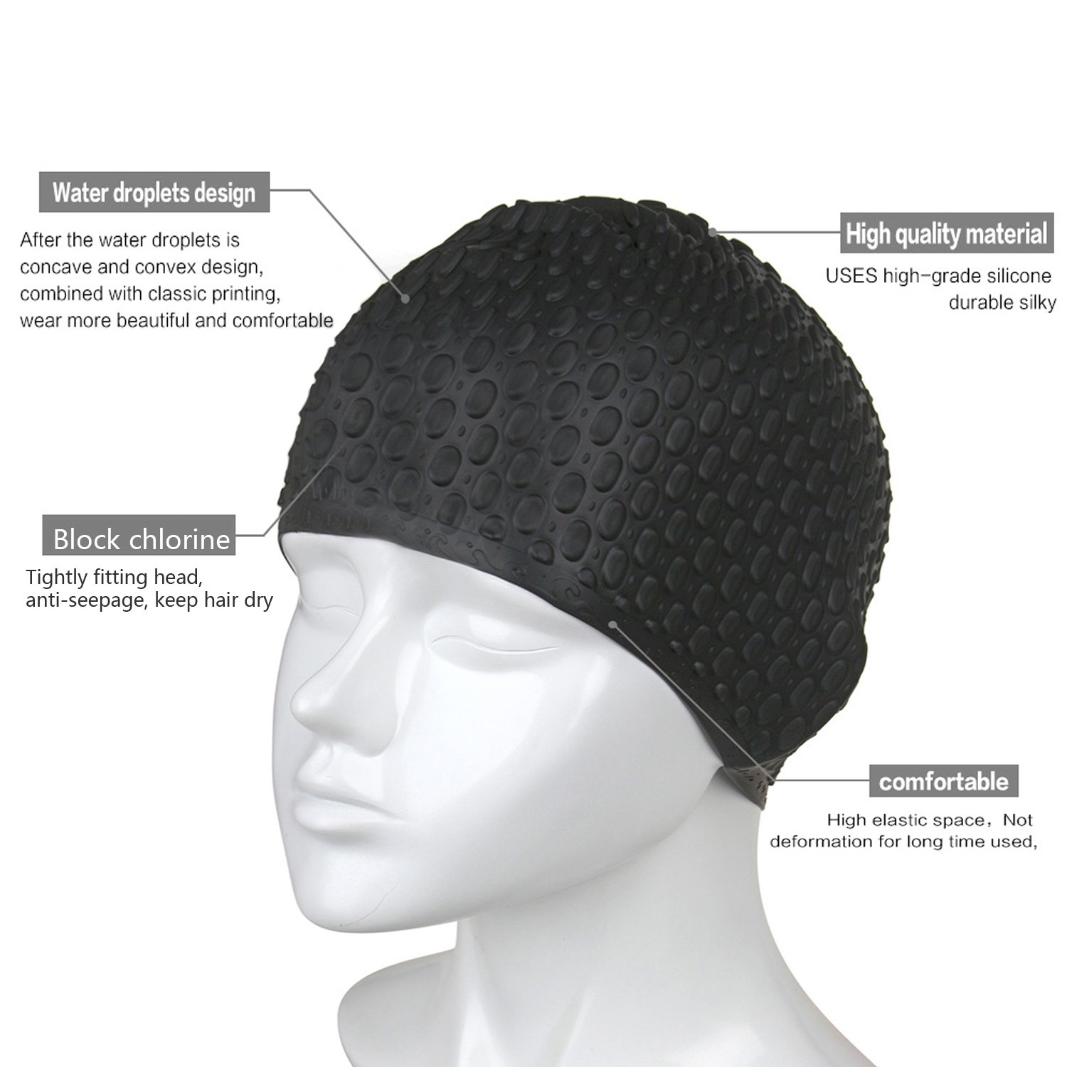 Peacoco Silicone Swim Cap for Women Kids Girls Men and Adult Ear Wrap Swim Hat Keeps Hair Dry Swimming Cap for Long Hair