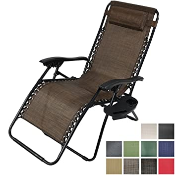 Bon Sunnydaze Dark Brown Outdoor Oversized Zero Gravity Lounge Chair With  Pillow And Cup Holder