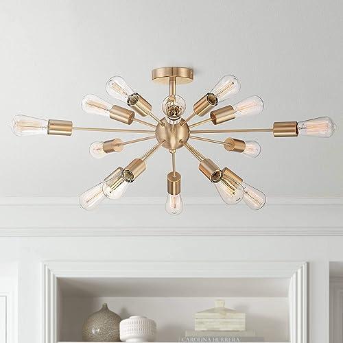 Hemingson Modern Ceiling Light Semi Flush Mount Fixture Sputnik Style Antique LED Edison Gold 26 Wide 15-Light for Bedroom Kitchen Living Room Hallway Bathroom – Possini Euro Design