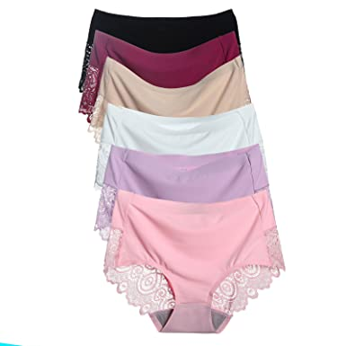 HOKEMP Women Sexy Underwear Silk Lace Panties Soft Briefs Knickers 6 Pack 653a6ffdd