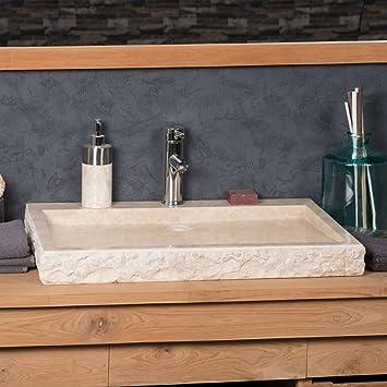 grande vasque 70cm poser rectangle en pierre marbre cosy crme - Grande Vasque A Poser