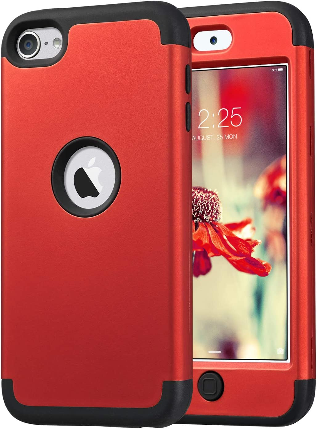 ULAK iPod Touch 7 Case, iPod Touch 6 Case, Heavy Duty High Impact Shockproof Dual Layer Protective Case for Apple iPod Touch 7th/6th/5th Generation (Red+Black)