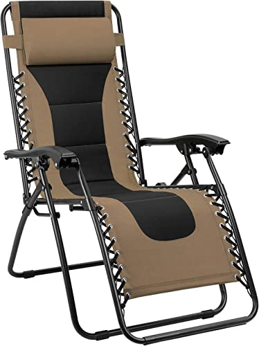 Devoko Patio Zero Gravity Chair Outdoor Oversize Padded Recliner Lounge Chair with Adjustable Headrest 300 lbs for Lawn Beach Poolside Brown