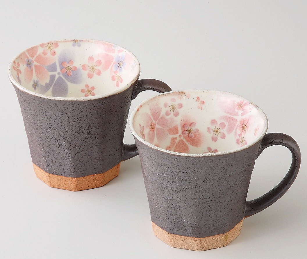 Japanese Porcelain Tea Cup Set, Kohiki Style with Internal Floral Design (Includes 2 Mugs) -