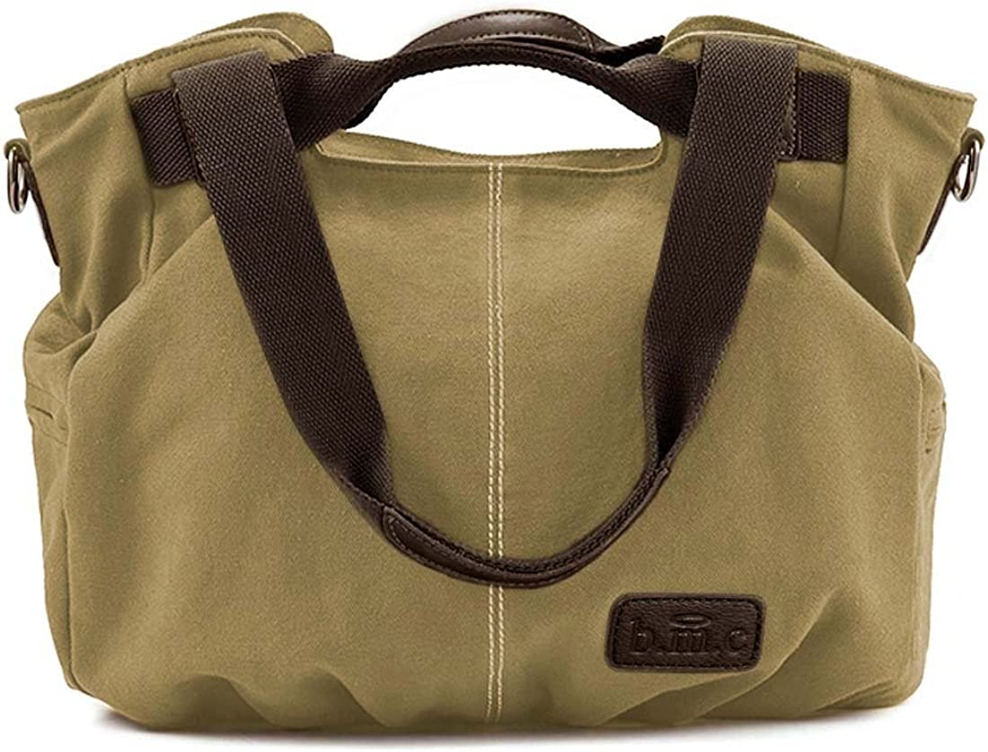 BMC Womens Canvas Double Top Handle Shoulder Tote Shopper Handbag