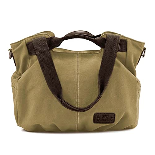 ea49d8f50bc1 Amazon.com  BMC Womens Khaki Gray Textured Canvas Double Top Handle  Lightweight Shoulder Tote Travel Shopper Handbag  Shoes
