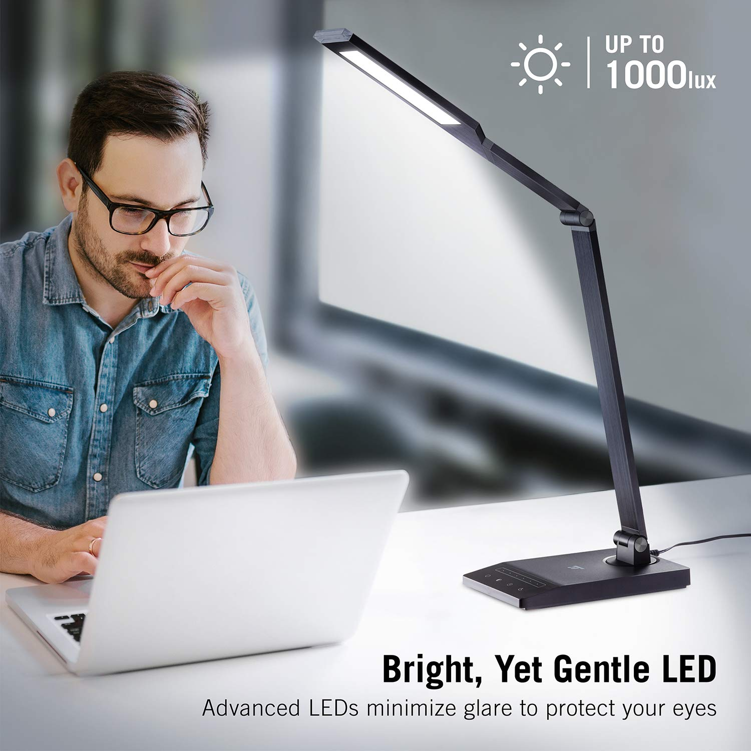 Usb Port Office Lamp With 1000 Lux Bright Yet Eye Caring Led Panel And 5 Color Modes Taotronics Tt Dl048 Desk 1 Hour Auto Timer And Nightlight Function Desk Lamps Kurrasports Office Products