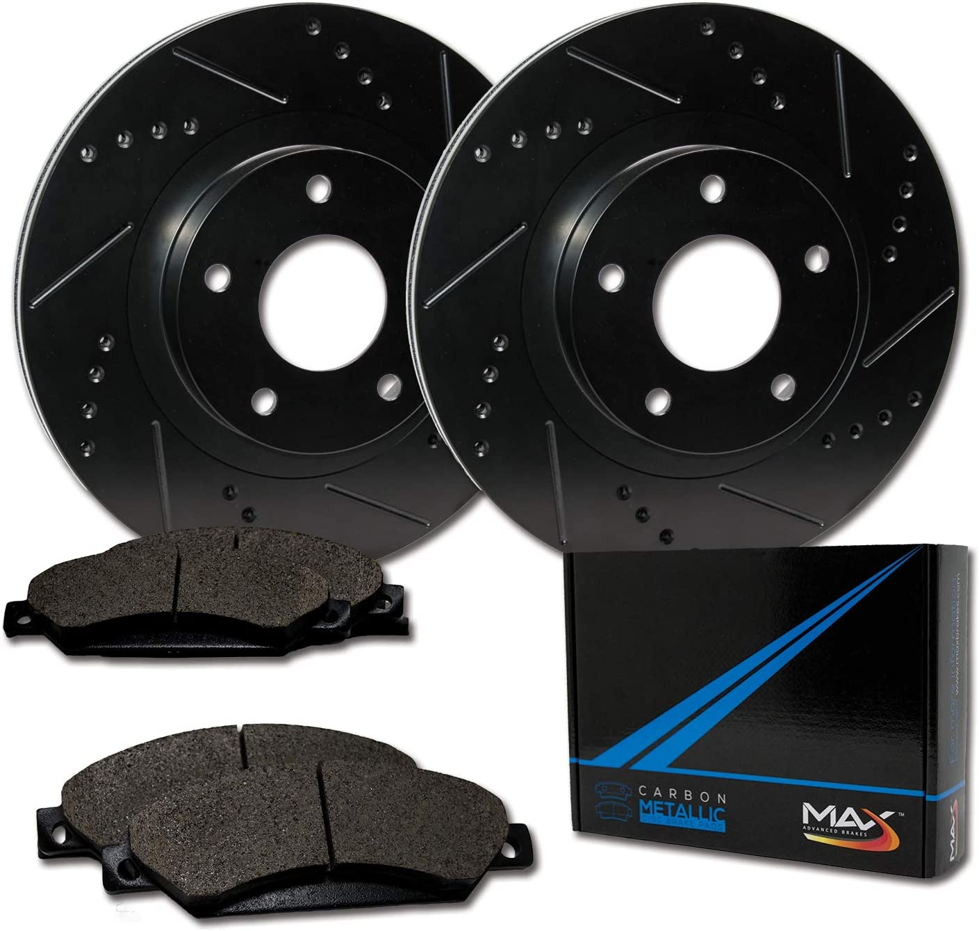 TA114981-1 Max Brakes Front Elite E-Coated XDS Rotors and Metallic Pads Brake Kit
