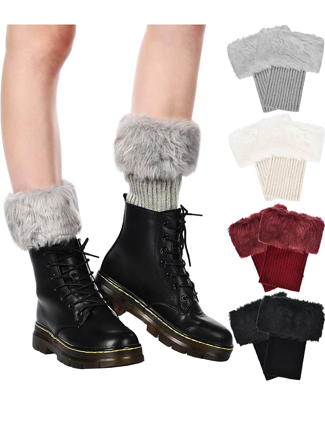 4 Pairs Women Faux Fur Boot Cuff Short Furry Leg Warmers Girls Winter Socks Knitted Boot Socks, 4 Colors