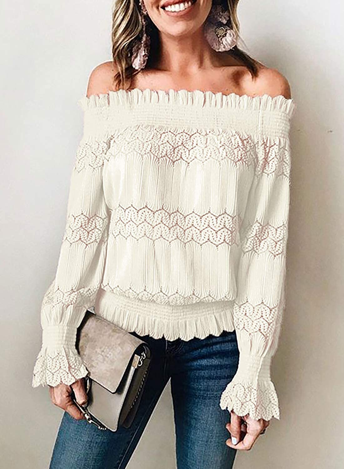 Chic Womens Long Bell Sleeve Lace Crochet Blouse Shirt Hollow Out Tops Plus Size