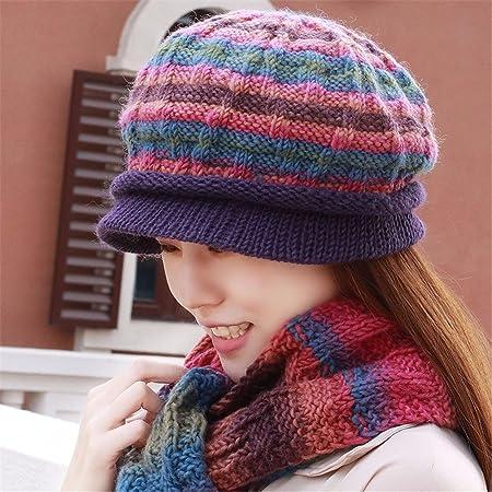 Espesor de invierno a mano bufanda gorro de lana tejida de dos ...