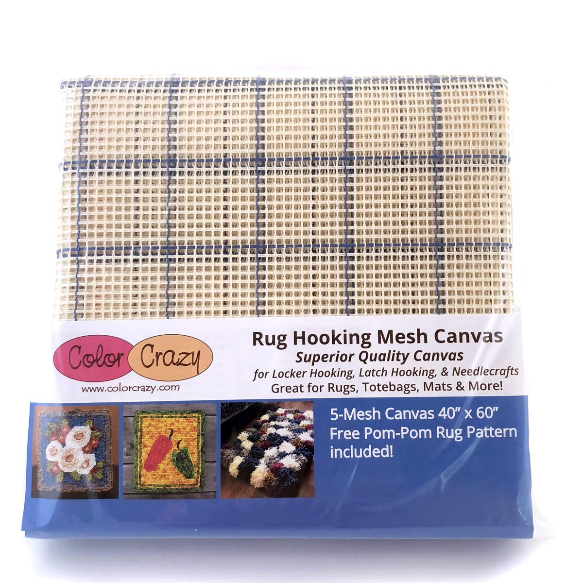 Rug Hooking Mesh Canvas - 5 Mesh (40 x 60) with Free Pattern Color Crazy