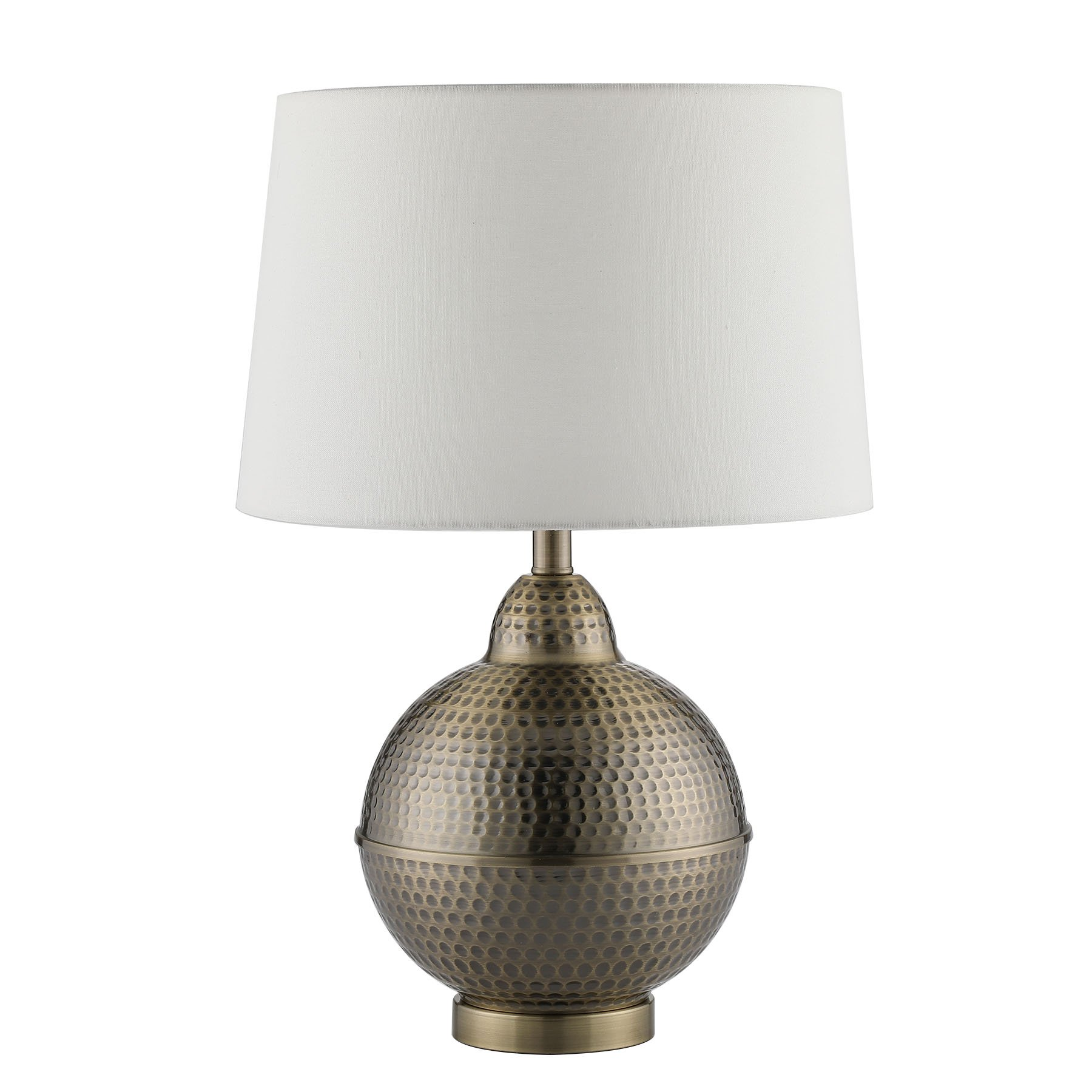 CO-Z Hammered Pot Table Lamps, Large Modern & Contemporary White Shade with Handcrafted Hammered Brass Base Desk Lamp for Living Room Bedroom Bedside Console