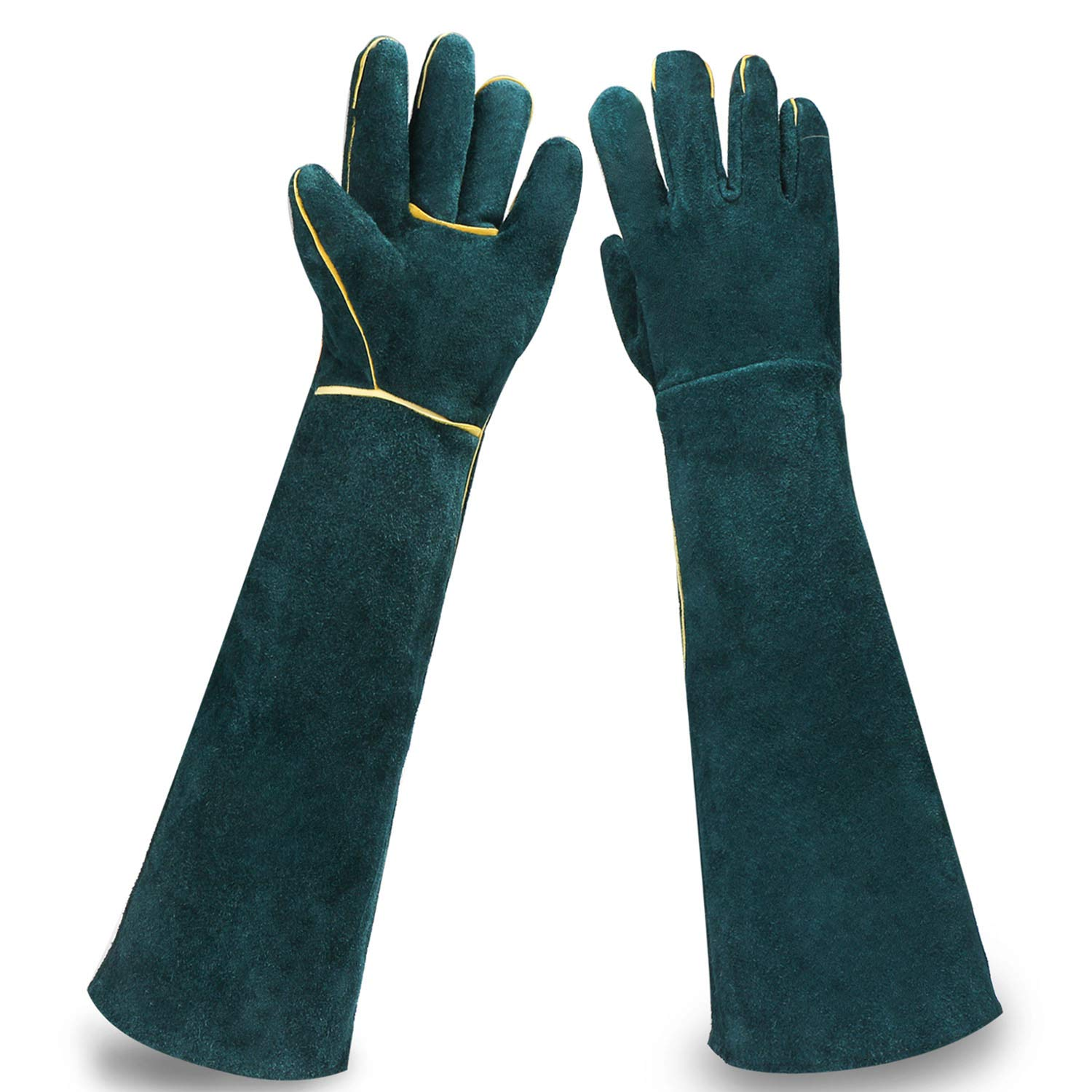 Animal Protection Gloves, EnPoint Reptile Handling Glove, Strengthened Cowhide Leather Anti Bite/Scratch Long Resistant Bathing Training Gloves for Pet Dog Cat Bird Snake Parrot Lizard Wild Animals