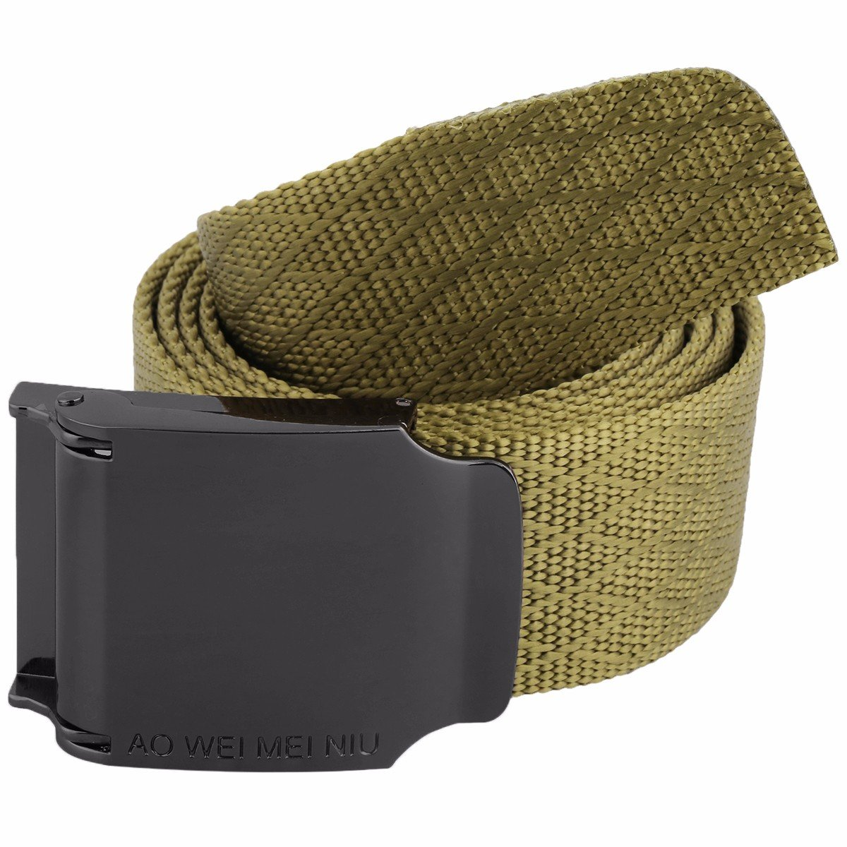squaregarden Tactical Belt, Military Style Nylon Webbing Belts with Metal Buckle