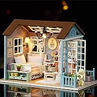 مجموعة منزل دمى مصغر من باربي دريم هاوس - قطعة فنية حقيقية صغيرة ثلاثية الأبعاد لغرفة المنزل الخشبية مع أضواء ليد للأثاث…