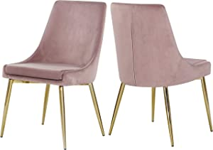 "Meridian Furniture Karina Collection Pink Modern | Contemporary Velvet Upholstered Dining Chair with Polished Gold Metal Legs, Set of 2, 19.5"" W x 21.5"" D x 33.5"" H,"
