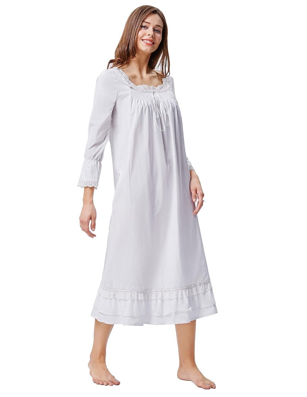 Kate Kasin Women's Cotton Sleepdress Victorian Styles Nightgown White 467) KK000467-1_S