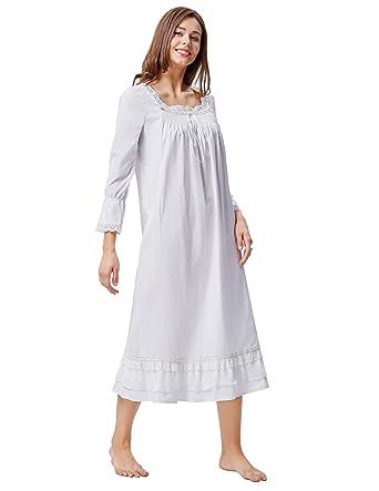 1ef8ab39dbe0b Kate Kasin Chemise de Nuit Femme Style Victorien 100% Coton Manche Longue  (X-