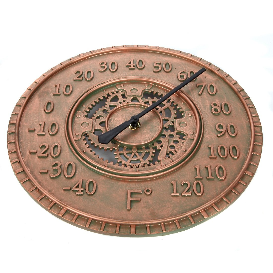 Lily's Home Hanging Wall Thermometer, Steampunk Gear and Cog Design with a Bronze Finish, Ideal for Indoor or Outdoor Use, Poly-Resin (13 Inches Diameter) by Lilyshome (Image #4)