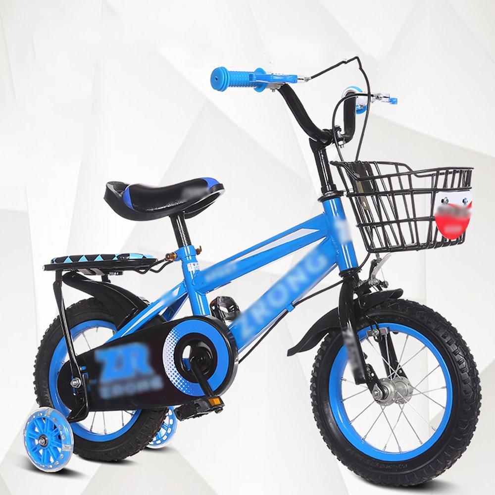 FEIFEI 子供用自転車ベビーキャリッジ12/14/16/18/20インチマウンテンバイクブルーレッドイエローセキュリティ保護 B07CRJGR7B 18 inches|青 青 18 inches