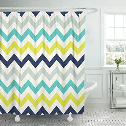 Image Unavailable Not Available For Color Emvency Shower Curtain Yellow Geometric Chevron Pattern Navy