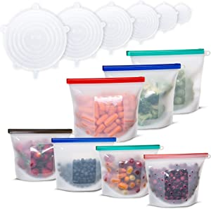 Reusable Silicone Food Storage ziplock sandwich Bags 6 Stretch Lids, 3 Large half gallon, 4 Medium Lunch, snack,Liquid, sous vide, Fruit Containers, Microwave, Dishwasher, Freezer Safe Airtight seal