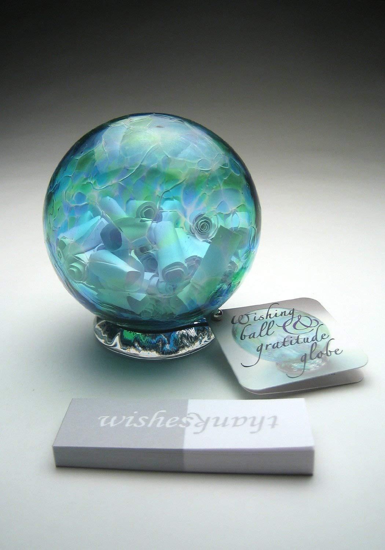 Handblown Wishing and Gratitude Globe (Blue and Green)