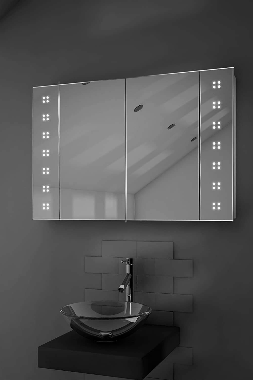 Tiaz LED Illuminated Bathroom Mirror Cabinet With Sensor Shaver K121 Amazoncouk Kitchen Home
