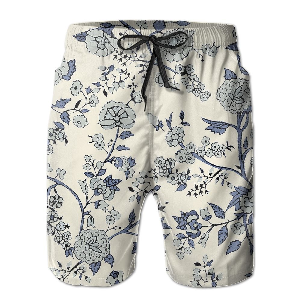 Tydo Retro Floral Pattern Mens Beach Shorts Casual Surfing Trunks Surf Board Pants With Pockets For Men