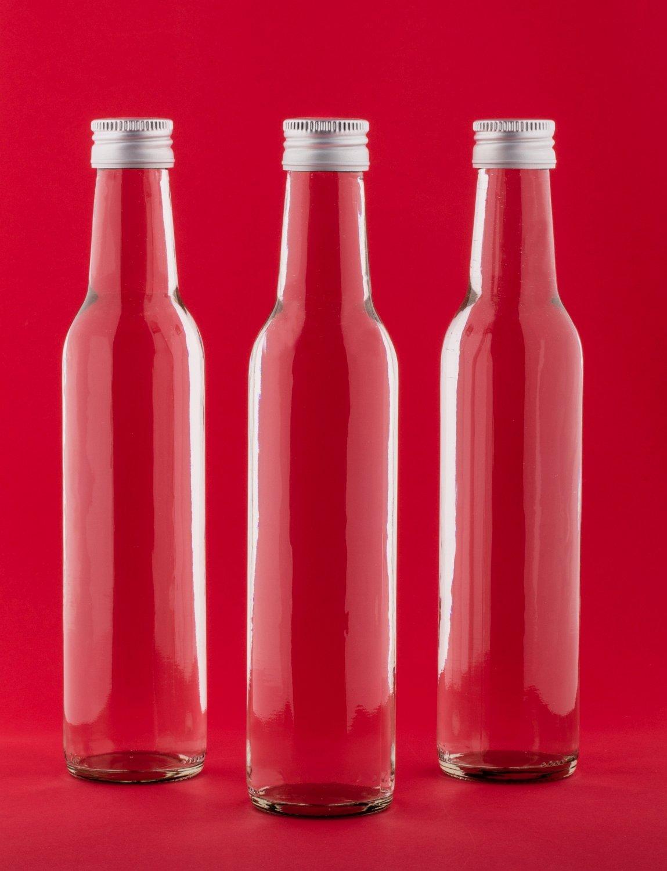 20 Glass Bottle 250 ml BOR Empty Straight-Necked for Juice Liquor Schnapps Bottles Vinegar Oil for Filling Screw Cap 250 ml, Height 24 cm, Set of 20 by slkfactory SLK GmbH