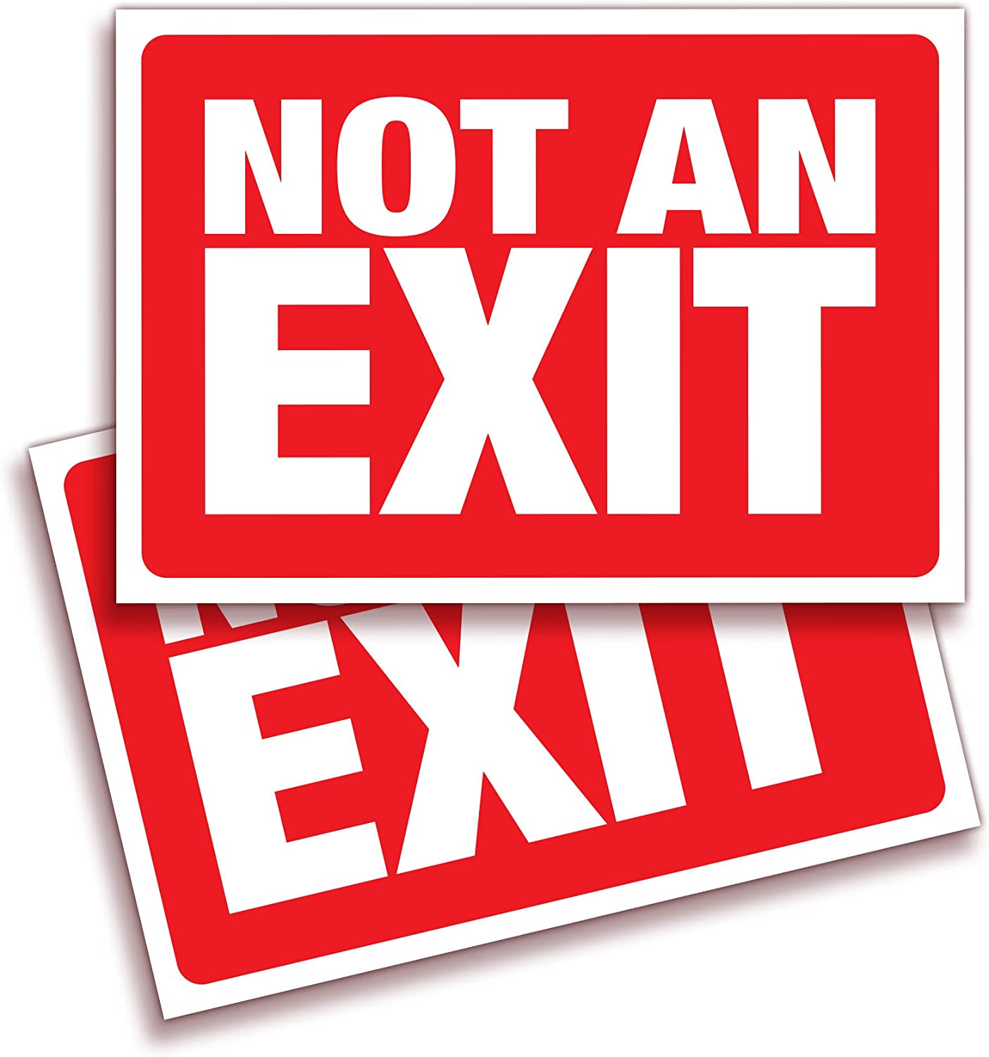 Not An Exit Signs Stickers, for Office, Buildings & Workplace – 2 Pack 10x7 Inch – Premium Self-Adhesive Vinyl, Laminated for Ultimate UV, Weather, Scratch, Water and Fade Resistance, Indoor & Outdoor
