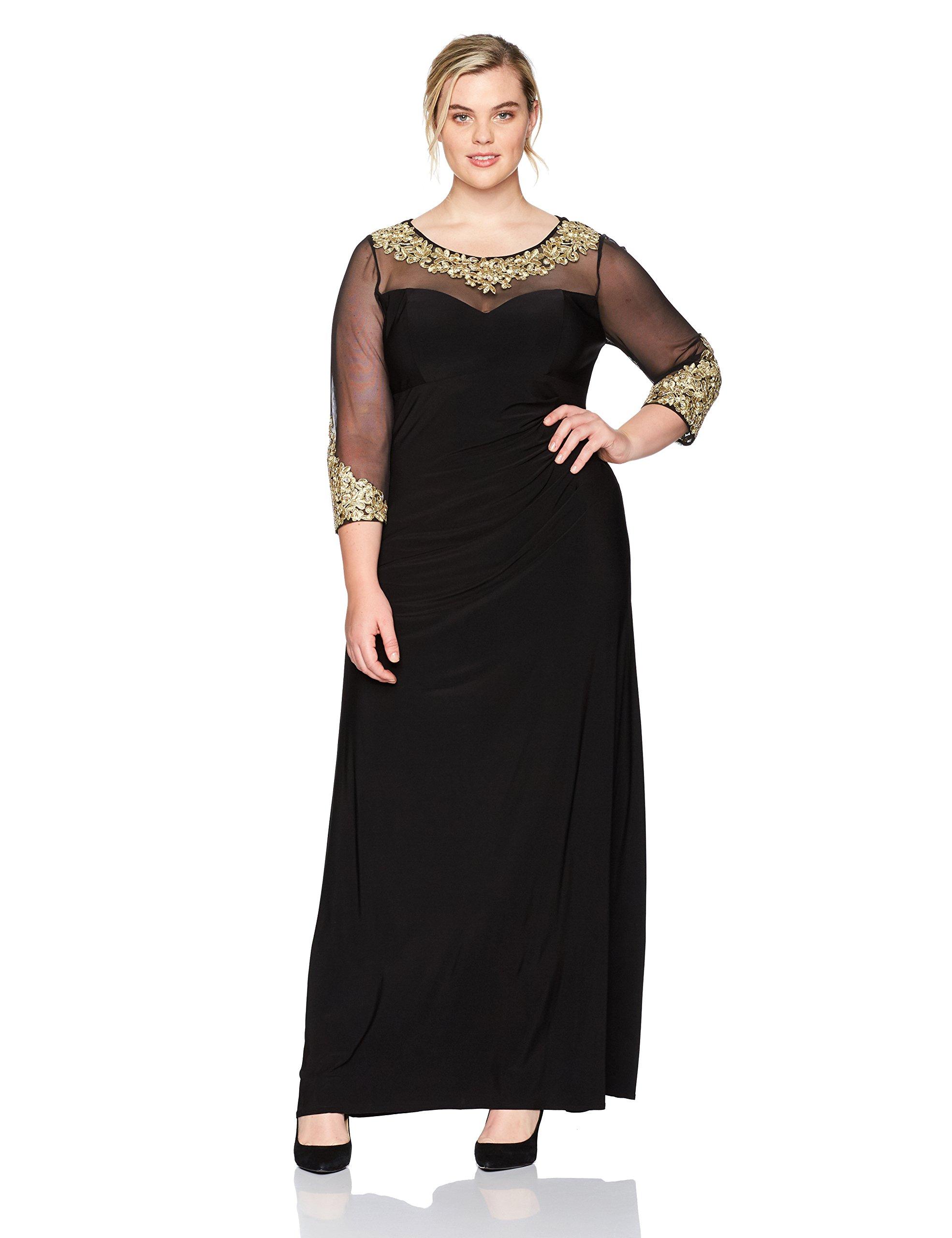 Alex Evenings Women\'s Plus Size Long Sleeve Sweetheart Neckline Dress,  Black/Gold, 18W
