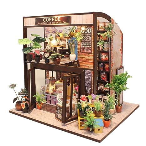 Amazon Com Cutebee Dollhouse Miniature With Furniture Diy Wooden
