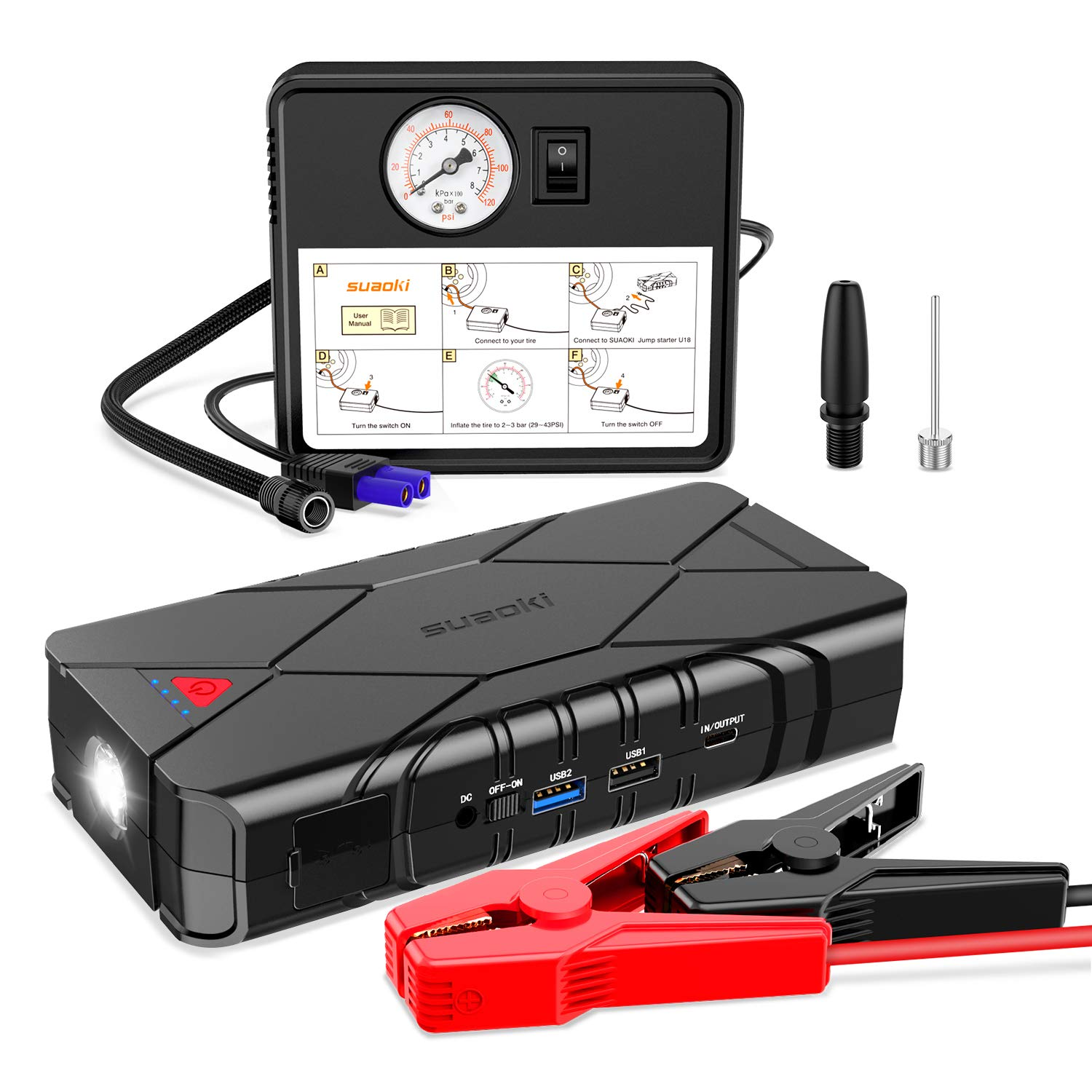 SUAOKI 1200A Peak Car Jump Starter Battery Pack 16000mAh Air Compressor (up To 7.5L Gas Or 6.0L Diesel Engine) With Type-C In/Out, Quick Charge 3.0 Ports, LED Light For Vehicles SUV Trucks (U18 Plus)