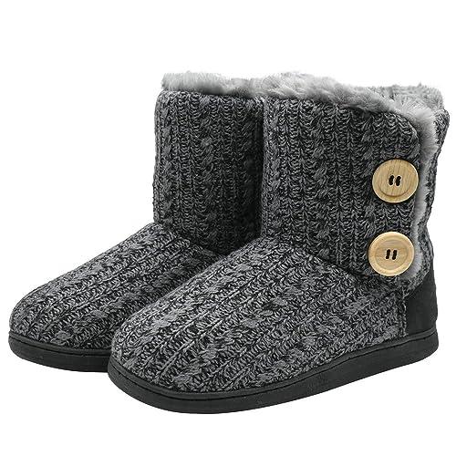 1134a5a7d49e coface Womens Slipper Boots Knit Bootie Warm Winter Memory Foam Indoor  House Shoes