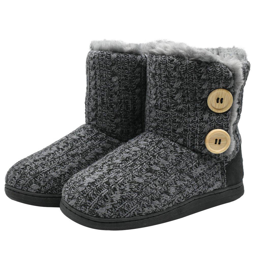 COFACE Womens Slipper Boots Knit Bootie Warm Winter Memory Foam Indoor House Shoes,Grey-36/37