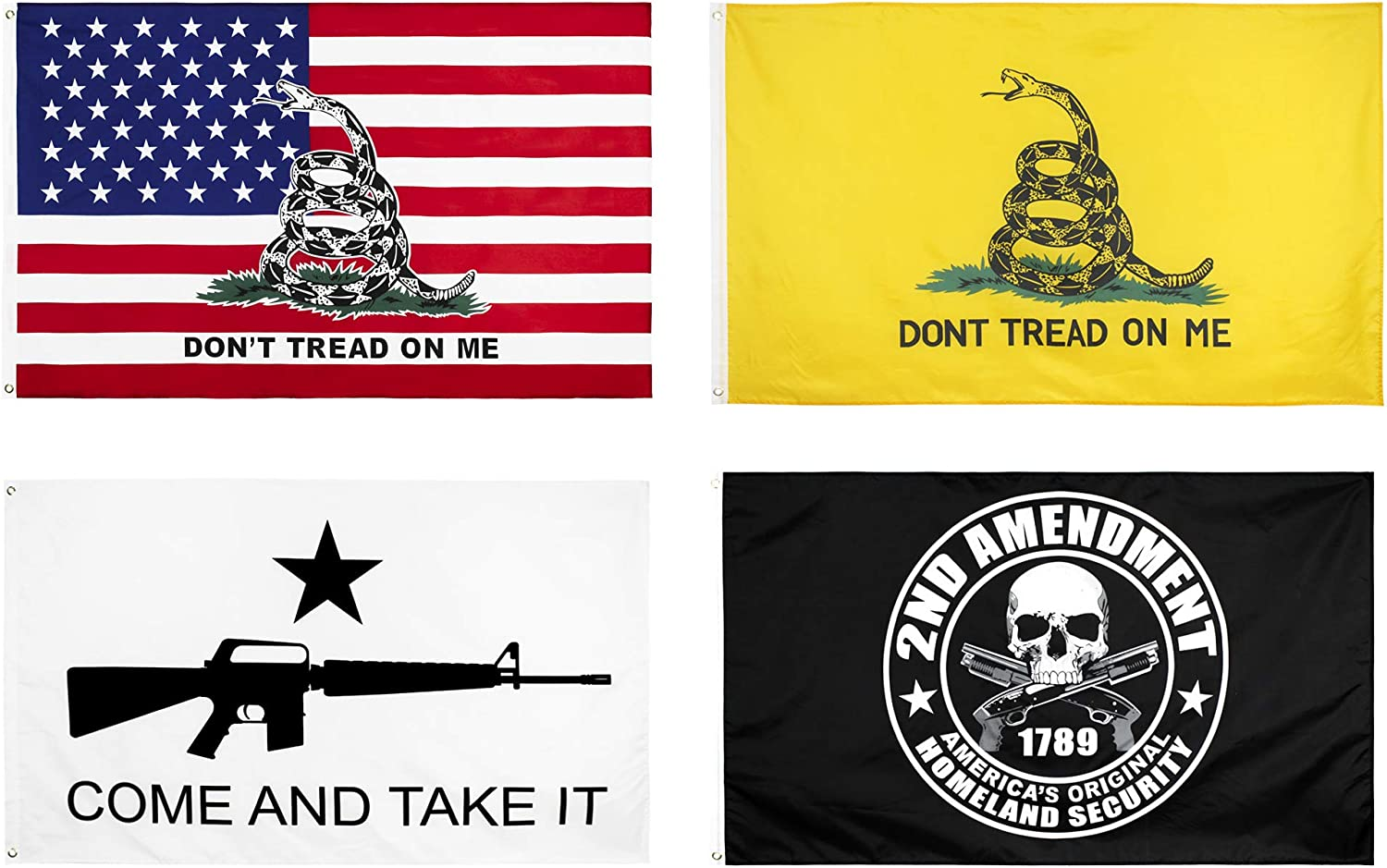 KENPMA 4 Pieces Gadsden American Flag - 2nd Amendment Flag - Come and Take It Flag - Dont Tread On Me Flag 3x5 ft with Grommets - Printed Polyester - Indoor/Outdoor - Vibrant Colors - Fade Resistant