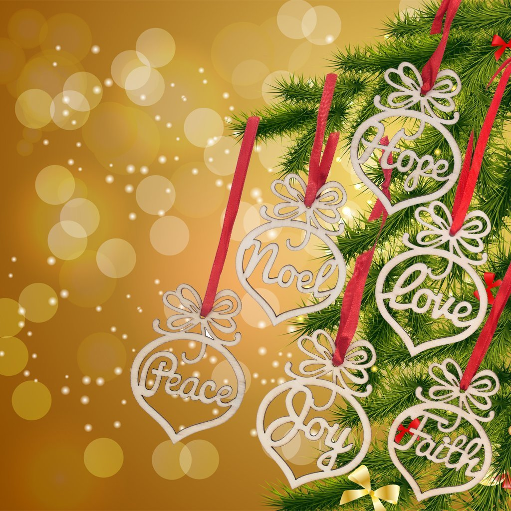 Amazon.com: 6PCS Christmas Ornaments, Wooden Hanging Craft Tags ...