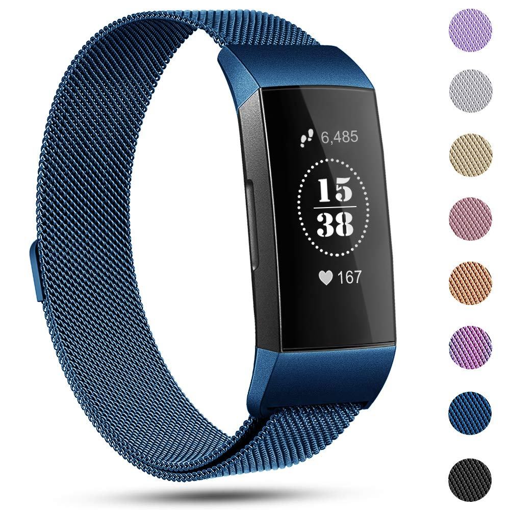 Find-MyWay Replacement Compatible Fitbit Charge 3 Bands/Charge 3 SE Metal Bands Wristband Accessory Magnetic Breathable Sport Bracelet Strap Small & Large for Women Men Silver Rose Gold 10 Colors