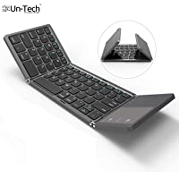Gadgetbucket UnTech Foldable Bluetooth Keyboard with Touchpad for All Devices Windows PC iOS Android Tablet MacBook Pro (Black)