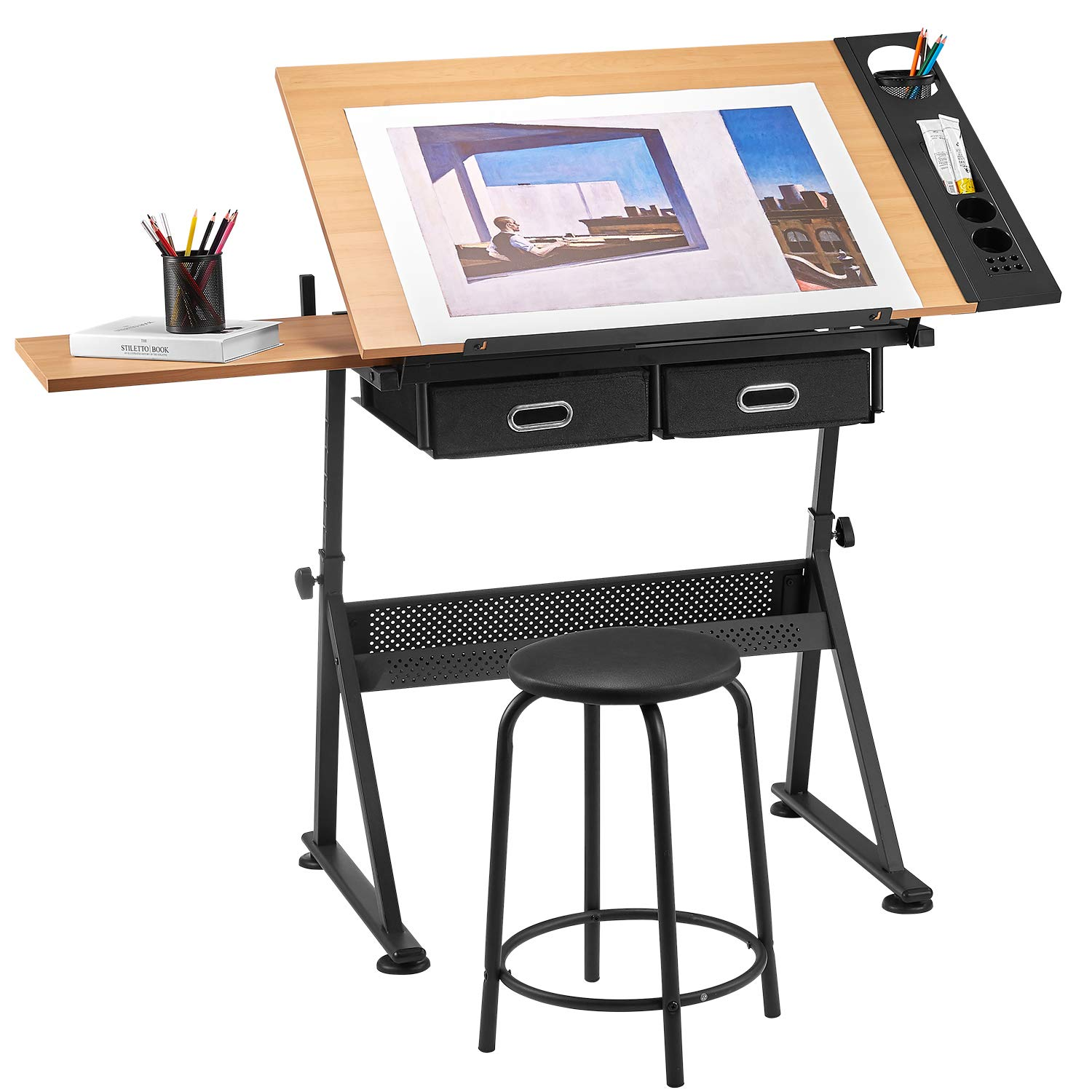 Phenomenal Topeakmart Glass Adjustable Rolling Drafting Drawing Artists Table Folding Art Craft Desk W 2 Slide Drawers And Wheels Creativecarmelina Interior Chair Design Creativecarmelinacom