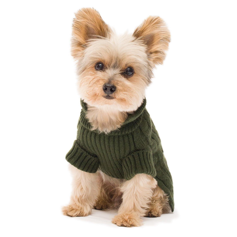 Olive Green  08 Olive Green  08 Stinky G Olive Green Aran Dog Sweater Size  08 XS
