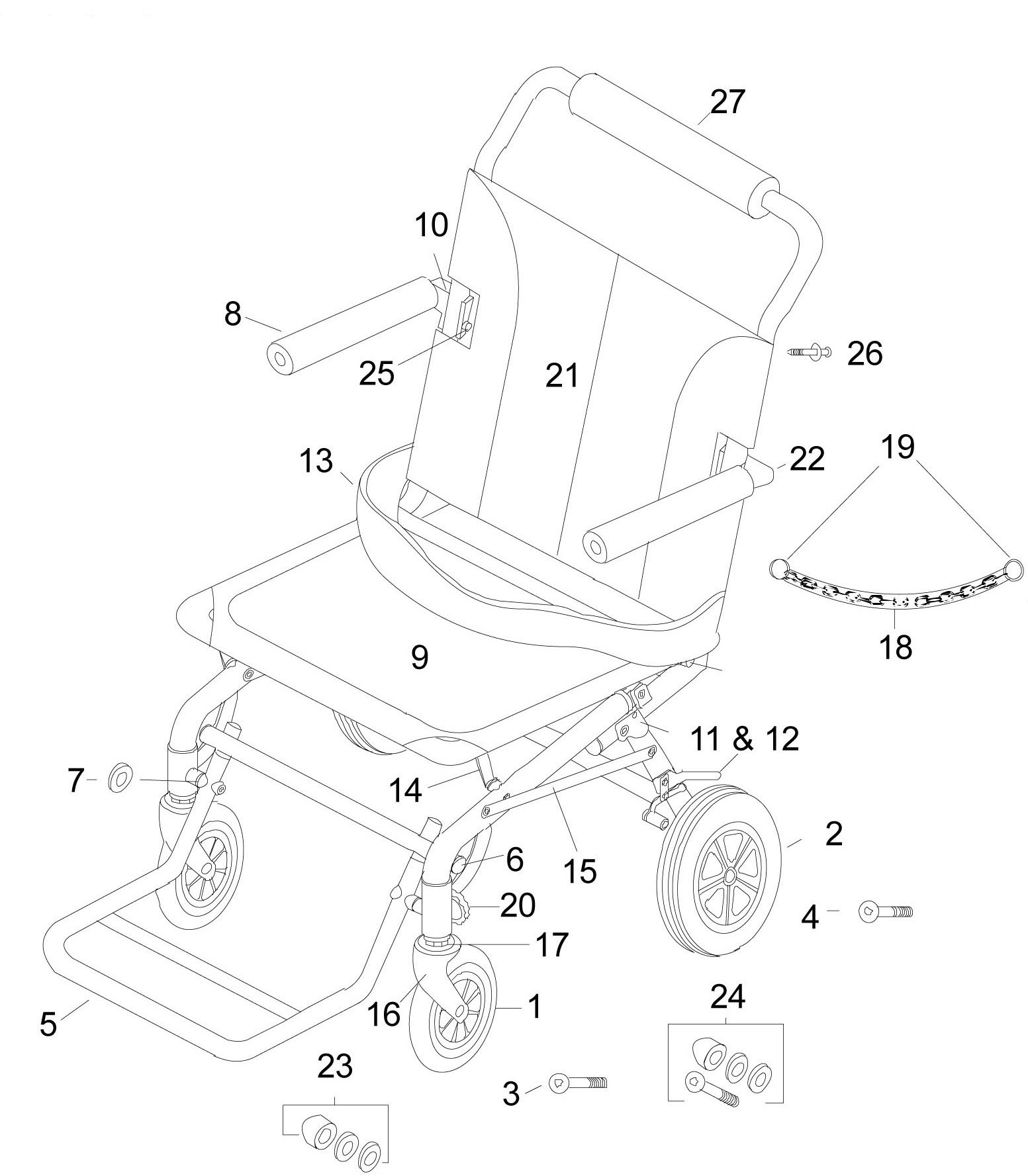Drive Replacement Parts for SL18 Super Light, Folding Transport Chair with Carry Bag and Flip-Back Arms (Rear Caster)