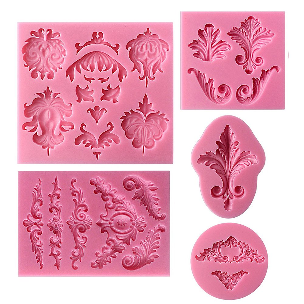 5Pcs Vintage Baroque Style Curlicues Scroll Cake Lace Mat Silicone Lace Impression Mold Baking Border Fondant Cake Brim Decor Mold Bake Emboss Mat Cake Mold Craft Sugar Lace Embossed Moulds Mat Cakes DIY Baking Tools Embossing Pad WElinks