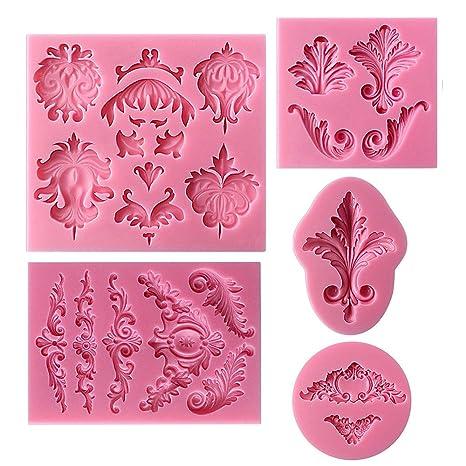 5 moldes de silicona barroco para repostería, diseño de pastel, con estampado de encaje, para decoración ...