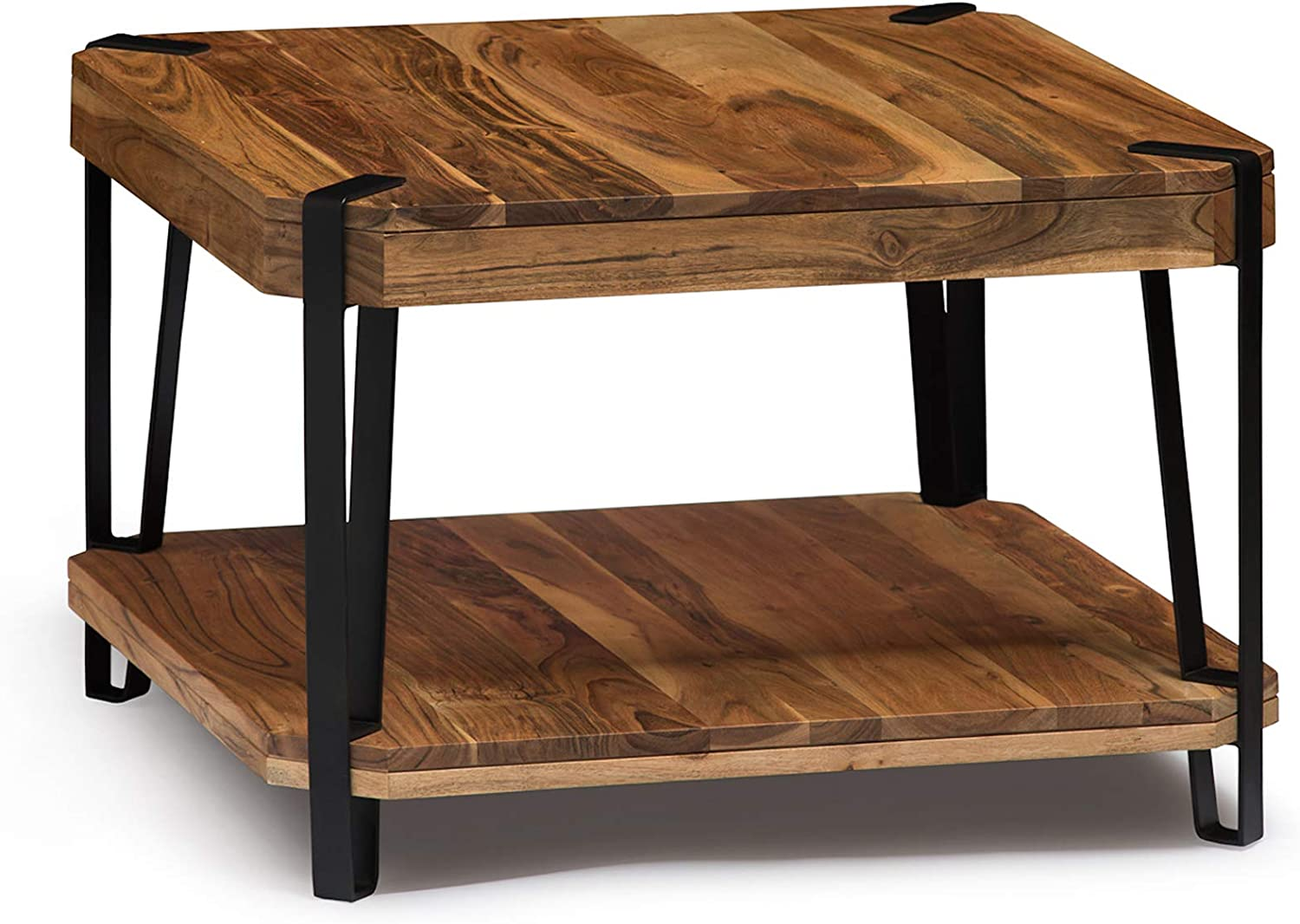 Alaterre Furniture Ryegate Natural Solid Wood with Metal Cube Coffee Table, Live Edge