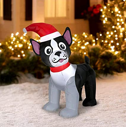 airblown inflatable boston terrier 35ft tall by gemmy industries 1 - Boston Terrier Outdoor Christmas Decoration