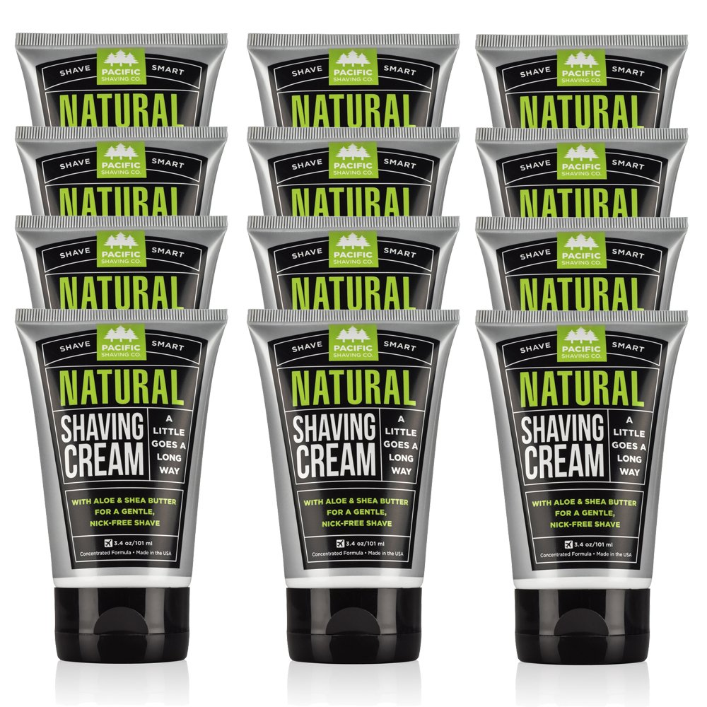Pacific Shaving Company - 12 PACK Natural Shaving Cream, Best Shave Cream for Men and Women - Safe Ingredients, Travel/TSA Friendly 3.4 ounce