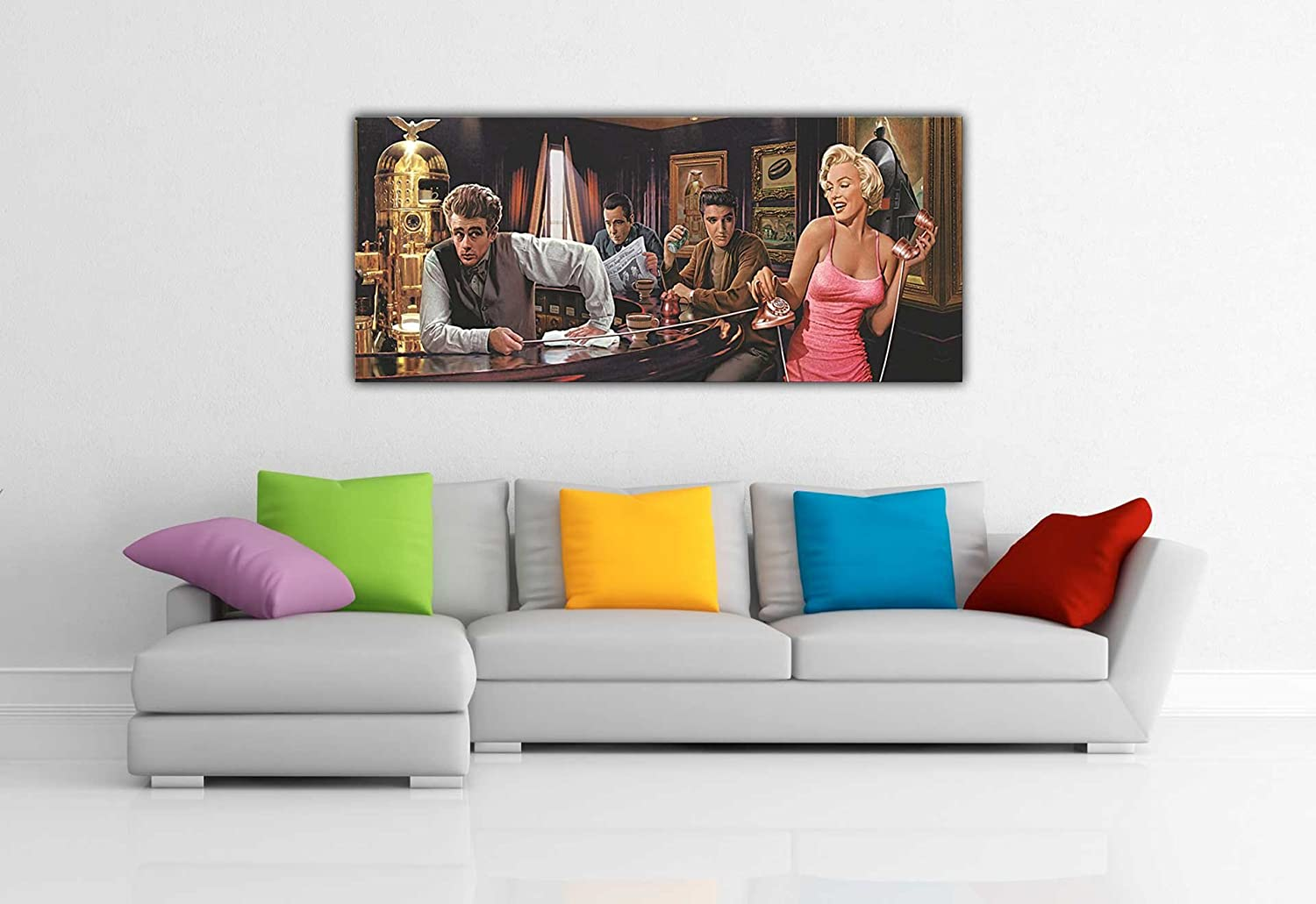 MARILYN MONROE ELVIS PRESLEY JAMES DEAN IN BAR PANORAMIC POP ART CANVAS  PRINTS WALL ART PICTURES PRINT PICTURE ROOM DECORATION HOME HOLLYWOOD  LEGENDS ... Part 71